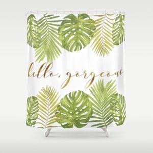 Society6 Hello Gorgeous Palm Leaves Shower Curtain